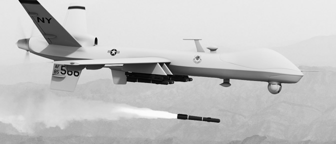 A Reaper Drone fires a hellfire missile
